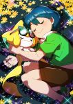 1boy absurdres bangs black-framed_eyewear blue_hair blush brown_shorts closed_mouth collared_shirt commentary_request fingernails flower gen_3_pokemon glasses green_footwear green_shirt highres holding holding_pokemon jirachi max_(pokemon) mythical_pokemon pokemon pokemon_(anime) pokemon_(creature) pokemon_rse_(anime) shiny shiny_hair shirt shoes shorts sleeping smile sparkle taisa_(lovemokunae) yellow_flower