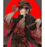 1boy alternate_costume alternate_hairstyle black_hair fate/grand_order fate_(series) fu_yukari hair_over_one_eye hat holding holding_weapon jacket jacket_on_shoulders japanese_clothes katana kimono koha-ace long_hair looking_at_viewer male_focus moon okada_izou_(fate) police_hat red_eyes red_moon sword weapon