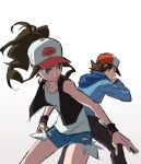 1boy 1girl baseball_cap black_pants black_vest blue_eyes brown_hair closed_mouth collarbone denim denim_shorts hat high_ponytail hilbert_(pokemon) hilda_(pokemon) holding holding_poke_ball long_sleeves pants poke_ball poke_ball_(basic) pokemon pokemon_(game) pokemon_bw short_shorts shorts sidelocks sketch smile tank_top vest white_background white_tank_top wristband yoko.u