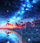 absurdres beach building city clouds commentary_request constellation highres hill house kenzo_093 milky_way night night_sky ocean original reflection scenery shooting_star sky solo star_(sky) starry_sky sunset water wide_shot