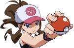 1girl antenna_hair baseball_cap black_vest blue_eyes blurry brown_hair closed_mouth commentary fingernails frown hat high_ponytail hilda_(pokemon) holding holding_poke_ball long_hair perspective poke_ball poke_ball_(basic) poke_ball_symbol pokemon pokemon_(game) pokemon_bw shirt sidelocks sleeveless sleeveless_shirt solo two-tone_headwear upper_body vest white_shirt wristband yoko.u