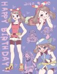 1girl bangs bare_arms bike_shorts blue_bandana blue_eyes blush bow_hairband brown_hair commentary_request eyelashes fanny_pack hairband hands_on_hips happy_birthday heart highres knees medium_hair minapo multiple_views open_mouth pokemon pokemon_adventures red_hairband sapphire_birch shoes short_shorts shorts sleeveless smile teeth white_shorts yellow_footwear