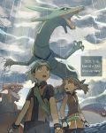 1boy 1girl bare_arms beanie bike_shorts black_hair brendan_(pokemon) brown_hair clouds collared_shirt commentary_request dated day eyelashes fanny_pack gen_3_pokemon gloves groudon hariiro_pon hat kyogre legendary_pokemon looking_up may_(pokemon) open_mouth orange_eyes outdoors pokemon pokemon_(creature) pokemon_(game) pokemon_emerald pokemon_rse rain rayquaza sharp_teeth shirt side_slit sleeveless teeth water