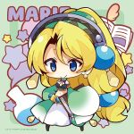 1girl atelier_(series) atelier_marie bangs blonde_hair blue_eyes blush book breasts carrying_under_arm character_name chibi closed_mouth crop_top eyebrows_visible_through_hair full_body green_background hair_between_eyes high_ponytail long_hair long_sleeves marie_(atelier) medium_breasts midriff muuran navel official_art open_book parted_bangs ponytail skirt sleeves_past_fingers sleeves_past_wrists smile solo standing starry_background two-tone_background very_long_hair white_skirt wide_sleeves
