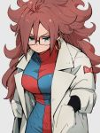 1girl android_21 blue_eyes checkered checkered_dress dragon_ball dragon_ball_fighterz dress earrings glasses grey_background hoop_earrings jewelry kemachiku labcoat long_hair long_sleeves red_ribbon_army redhead simple_background solo