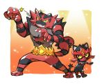 :3 blue_eyes claw_pose commentary_request gen_7_pokemon hands_up highres incineroar legs_apart litten no_humans one_eye_closed open_mouth pokemon pokemon_(creature) shaking standing tail taisa_(lovemokunae) teeth tongue wrestling_mask yellow_sclera
