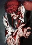 1boy black_vest blood blood_on_face bloody_clothes clutching_chest cuts dated facial_hair fangs glasses injury kekkai_sensen klaus_von_reinhertz male_focus necktie nosebleed open_mouth red_neckwear redhead shirt sinsin12121 solo sweat torn_clothes upper_body veins vest white_shirt
