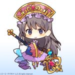 1girl atelier_(series) bangs black_hair blue_background blush character_request chibi eyebrows_visible_through_hair full_body gradient gradient_background hat holding holding_staff long_hair long_sleeves looking_at_viewer muuran official_art parted_lips pink_headwear purple_skirt skirt sleeves_past_wrists smile solo staff standing very_long_hair violet_eyes watermark white_background wide_sleeves