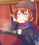 1girl bangs bowl chopsticks closed_eyes eating english_commentary eyebrows_visible_through_hair festival food foodgasm hair_between_eyes hand_on_own_cheek hat highres hoshizora_rin jan_azure knit_hat love_live! love_live!_school_idol_project multicolored_neckwear noodles orange_hair ramen scarf short_hair solo star_(symbol) star_print steam sweater upper_body