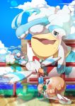 absurdres altaria beak bird blush clouds commentary_request day eye_contact fence food gen_3_pokemon gen_7_pokemon highres holding hot lens_flare looking_at_another open_mouth outdoors owl pelipper pokemon pokemon_(creature) popsicle rowlet sky swablu sweat taisa_(lovemokunae) water wingull