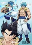 1boy abs baggy_pants black_hair blue_background blue_hair closed_mouth dated dragon_ball dragon_ball_super dragon_ball_super_broly energy_ball gogeta hand_on_hip male_focus metamoran_vest multiple_views muscle pants simple_background sinsin12121 spiky_hair super_saiyan super_saiyan_blue translation_request twitter_username veins waistcoat wristband