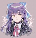 1girl bangs black_choker black_jacket blue_bow bow choker collared_shirt cropped_torso earrings eyebrows_visible_through_hair flower flower_earrings grey_background hair_between_eyes hair_bow highres jacket jewelry long_hair looking_at_viewer mechuragi open_clothes open_jacket original purple_hair shirt simple_background solo upper_body white_flower white_shirt yellow_eyes