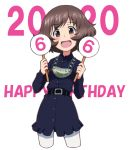 1girl :d akiyama_yukari background_text bangs belt black_belt black_dress brown_eyes brown_hair chain_necklace collared_dress commentary cowboy_shot cropped_legs dated dress english_text eyebrows_visible_through_hair girls_und_panzer gorget happy_birthday holding holding_sign japanese_tankery_league_judge_uniform judge kayabakoro long_sleeves looking_at_viewer medallion messy_hair open_mouth pantyhose short_dress short_hair sign simple_background smile solo standing uniform white_background white_legwear wing_collar