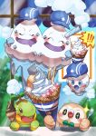 !! +_+ absurdres blue_headwear blush closed_eyes commentary_request food gen_4_pokemon gen_5_pokemon gen_7_pokemon hat highres holding holding_spoon ice_cream ice_cream_cone looking_up mouth_drool no_humans open_mouth pokemon pokemon_(creature) rowlet spoon sweat taisa_(lovemokunae) tongue turtwig vanillite vanilluxe