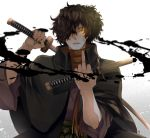 1boy alternate_costume black_hair fate/grand_order fate_(series) fighting_stance fu_yukari glowing glowing_eye hair_over_one_eye holding holding_weapon jacket jacket_on_shoulders japanese_clothes katana kimono koha-ace long_hair looking_at_viewer male_focus middle_finger multiple_swords okada_izou_(fate) orange_scarf ponytail scarf sword upper_body weapon yellow_eyes