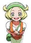 1girl bag bianca_(pokemon) blonde_hair blush_stickers collarbone commentary from_above green_eyes green_headwear hat holding_strap looking_at_viewer looking_up open_mouth pokemon pokemon_(game) pokemon_bw shiny shiny_hair short_hair short_sleeves shoulder_bag solo tongue upper_teeth white_background yoko.u