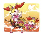 blush bow braixen commentary_request fang fennekin fur gen_6_pokemon happy hat highres holding holding_stick looking_at_another looking_at_viewer one_eye_closed open_mouth pink_bow pink_ribbon pink_skirt pokemon pokemon_(creature) red_bow red_eyes ribbon skirt standing stick taisa_(lovemokunae) tongue
