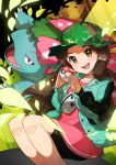1girl :d absurdres blush brown_eyes brown_hair buttons camouflage_headwear commentary_request eyelashes gen_1_pokemon green_jacket hat highres holding holding_poke_ball jacket knees legs_together long_hair open_mouth poke_ball poke_ball_(basic) pokemon pokemon_(creature) pokemon_(game) pokemon_masters_ex shiny shiny_hair smile taisa_(lovemokunae) teeth tongue venusaur
