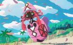 beach clouds commentary_request copyright_name day floating gen_7_pokemon hyogonosuke legendary_pokemon long_hair no_humans official_art outdoors palm_tree petals pink_hair pokemon pokemon_(creature) pokemon_trading_card_game sand sky tapu_lele tree watermark