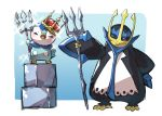bird blue_eyes blush claws closed_eyes commentary_request crown empoleon gen_4_pokemon hand_on_hip hand_up highres holding ice_block open_mouth penguin piplup pokemon pokemon_(creature) polearm sparkle standing sweatdrop taisa_(lovemokunae) tongue trident weapon