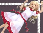 1girl bangs blonde_hair blush_stickers brown_eyes clenched_hands cross dark_background ebisu_eika eyebrows_visible_through_hair frilled_shirt frilled_skirt frills kakone long_hair looking_at_viewer open_mouth puffy_short_sleeves puffy_sleeves shirt short_sleeves skirt solo touhou white_shirt white_skirt