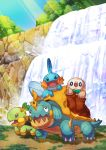 absurdres bird blush commentary_request drednaw gen_3_pokemon gen_4_pokemon gen_7_pokemon gen_8_pokemon grass happy highres light_rays mudkip open_mouth outdoors owl pokemon pokemon_(creature) pokemon_on_back rock rowlet shiny sparkle standing sunbeam sunlight taisa_(lovemokunae) tree turtwig water waterfall