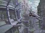 aircraft aoki_uru city flying gainax military official_art science_fiction yoshinari_you