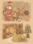basket bell bow brown_hair christmas closed_eyes commentary_request fire fireplace flame fur_trim gen_2_pokemon gen_3_pokemon gender_request gloves hat holding holding_basket houndour log long_sleeves manectric matsuri_(matsuike) plant pokemon potted_plant red_gloves santa_hat sleeping socks stantler