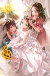 3girls alternate_costume bare_shoulders barefoot bouquet bow bride brown_eyes brown_hair chair closed_eyes commentary_request curtains double_bun dress elbow_gloves flower gloves grin hair_bow hair_intakes hair_ornament hair_ribbon highres holding holding_bouquet indoors jintsuu_(kantai_collection) kantai_collection long_hair multiple_girls naka_(kantai_collection) orange_mikan parted_lips ponytail ribbon sendai_(kantai_collection) short_hair sitting sleeveless smile strapless strapless_dress sunflower tiara wedding_dress white_dress white_gloves