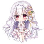 1girl :o bangs blush bridal_veil chibi commentary_request dress elbow_gloves eyebrows_visible_through_hair fang flower frilled_dress frills full_body garter_straps gloves hair_between_eyes hair_flower hair_ornament hands_up long_hair looking_at_viewer mitsuba_choco original parted_lips pleated_dress red_eyes ribbon rose sample see-through simple_background single_thighhigh solo thigh-highs veil very_long_hair wedding_dress white_background white_dress white_flower white_gloves white_hair white_legwear white_rose yellow_flower yellow_ribbon