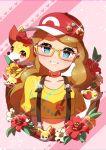1girl absurdres baseball_cap bespectacled blue_eyes blush choker collarbone eyebrows_visible_through_hair eyelashes fang fennekin flower gen_6_pokemon glasses happy hat highres light_brown_hair long_hair looking_at_viewer open_mouth parted_lips pokemon pokemon_(anime) pokemon_xy_(anime) red_choker red_flower serena_(pokemon) shiny shiny_hair smile sparkle suspenders taisa_(lovemokunae) teeth tongue white_flower yellow-framed_eyewear