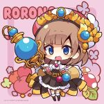 1girl :d apple atelier_(series) atelier_rorona bangs black_footwear black_skirt blue_eyes blush boots breasts brown_hair character_name chibi cloak eyebrows_visible_through_hair floral_background food frilled_cloak frilled_skirt frills fruit full_body hat high-waist_skirt holding holding_staff knee_boots long_hair looking_at_viewer medium_breasts mushroom muuran official_art open_mouth pink_background pink_cloak pleated_skirt red_apple red_headwear rororina_fryxell skirt smile solo staff standing two-tone_background