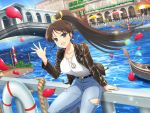 1girl bangs belt black_jacket blue_sky blush boat breasts bridge brown_eyes brown_hair collarbone crossover day denim fatal_fury glint hand_up jacket jeans large_breasts lifebuoy long_hair looking_at_viewer official_art outdoors pants peace_symbol petals ponytail river senran_kagura senran_kagura_new_link shiny shiny_hair shiny_skin shiranui_mai shirt sitting sitting_on_railing sky solo the_king_of_fighters tied_hair water watercraft white_shirt yaegashi_nan