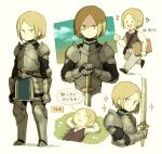 1boy :d arms_behind_head blonde_hair blue_eyes grass holding holding_sword holding_weapon knight lying maniani musical_note on_back open_mouth original plate_armor short_hair simple_background smile sword thought_bubble translated vest weapon |_|