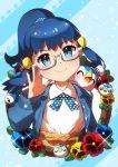 1girl ^_^ absurdres adjusting_eyewear bangs bespectacled blue-framed_eyewear blue_cardigan blue_eyes blue_hair blush cardigan closed_eyes closed_mouth commentary_request dawn_(pokemon) eyebrows_visible_through_hair eyelashes gen_4_pokemon glasses highres leaf long_sleeves looking_at_viewer open_mouth piplup pokemon pokemon_(anime) pokemon_(creature) pokemon_dppt_(anime) polka_dot semi-rimless_eyewear smile sparkle taisa_(lovemokunae) tied_hair tongue