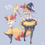 1girl animal_ear_fluff animal_ears bangs bare_shoulders black_footwear black_headwear black_legwear blonde_hair blush braixen breasts commentary_request detached_sleeves eyebrows_visible_through_hair fang fire flame fur fur_trim gen_6_pokemon hair_between_eyes hat highres holding holding_stick kuromiya multicolored_hair open_mouth orange_eyes pantyhose personification pokedex_number pokemon pokemon_(creature) shiny shiny_hair shoes sidelocks stick tail tongue two-tone_hair white_hair witch_hat