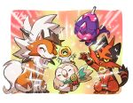 arm_up bird blush closed_eyes closed_mouth commentary_request gen_7_pokemon happy highres lycanroc lycanroc_(dusk) medal meltan mythical_pokemon open_mouth owl poipole pokemon pokemon_(creature) rowlet smile taisa_(lovemokunae) tongue torracat ultra_beast
