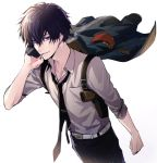 1boy belt black_hair black_neckwear brown_hair cigarette clenched_hand collar_x_malice gun holster jacket jacket_removed looking_at_viewer male_focus mouth_hold necktie ouka_mai pants shirt shoulder_holster smoking weapon white_background white_shirt yanagi_aiji