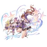 :d arm_up bangs bare_shoulders bare_thighs black_hair blonde_hair blue_eyes boots brown_eyes brown_hair canna_(granblue_fantasy) closed_mouth diantha_(granblue_fantasy) diola_(granblue_fantasy) eyebrows floating_hair gloves granblue_fantasy hair_between_eyes hair_ornament hand_on_own_chest hand_up harie_(granblue_fantasy) hat idol linaria_(granblue_fantasy) long_hair long_sleeves low_twintails microphone multiple_girls official_art open_mouth pink_hair ponytail short_hair short_sleeves sleeves sleeves_past_wrists smile star_(symbol) straight_hair twintails white_footwear white_gloves yellow_eyes