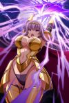 1girl armor armored_boots arms_up ass_visible_through_thighs attack aura bangs bikini_armor black_gloves blunt_ends boots breastplate breasts cape center_opening circlet claudette_(queen's_blade) cleavage_cutout curvy elbow_gloves g-string gloves gold_armor groin highleg highleg_panties huge_weapon large_breasts long_hair navel navel_cutout official_art open_mouth outline panties purple_hair purple_panties queen's_blade queen's_blade_unlimited queen's_blade_white_triangle red_cape shoulder_armor sidelocks solo spaulders standing straight_hair string_panties sword thighs thong underwear vambraces violet_eyes weapon