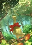 antennae blurry_foreground bush closed_mouth commentary_request day forest from_below gen_2_pokemon grass highres light_rays looking_up meganium nature outdoors plant pokemon pokemon_(creature) smile standing sunbeam sunlight supearibu tree vines