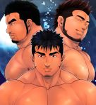3boys abs bara beard black_hair brown_hair chest closed_eyes facial_hair goatee male_focus manly masateruteru multiple_boys muscle nipples original pectorals shirtless short_hair sideburns spiky_hair upper_body water