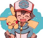 1boy :d ash_ketchum bangs baseball_cap blue_jacket blush brown_gloves brown_hair clenched_hands closed_eyes eyebrows_visible_through_hair fingerless_gloves gen_1_pokemon gloves hands_up hat heart jacket on_shoulder open_mouth pikachu pokemon pokemon_(anime) pokemon_(creature) pokemon_bw_(anime) pokemon_on_shoulder smile tongue yukikokoro zipper_pull_tab