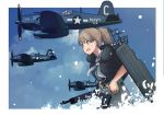 1girl aircraft aircraft_request airplane backpack bag black_shirt blue_eyes brown_hair commentary_request cowboy_shot f4u_corsair flight_deck grey_neckwear grey_skirt gun intrepid_(kantai_collection) kantai_collection m1903_springfield machinery neck_pillow ponytail rifle shirt short_hair skirt timmyyen weapon