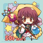 1girl :d atelier_(series) atelier_sophie bangs blue_background blush breasts brown_eyes brown_hair character_name chibi coat eyebrows_visible_through_hair frilled_skirt frills full_body green_coat head_scarf holding holding_staff long_sleeves looking_at_viewer medium_breasts multicolored_hair muuran official_art open_clothes open_coat open_mouth potion red_skirt skirt smile solo sophie_neuenmuller staff standing starry_background two-tone_hair underbust watermark wide_sleeves