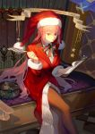 1girl absurdres bangs bow bowtie braid breasts dress eyebrows_visible_through_hair fate/grand_order fate_(series) florence_nightingale_(fate/grand_order) florence_nightingale_santa_(fate/grand_order) fur_trim hat highres holding jacket large_breasts long_hair looking_at_viewer pantyhose pink_hair red_eyes red_headwear red_jacket santa_costume santa_hat solo taro-k thigh-highs