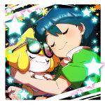 1boy bangs black-framed_eyewear blue_hair border closed_eyes closed_mouth collared_shirt commentary_request gen_3_pokemon glasses green_shirt highres holding holding_pokemon jirachi max_(pokemon) mythical_pokemon pokemon pokemon_(anime) pokemon_(creature) pokemon_rse_(anime) shiny shiny_hair shirt short_sleeves smile sparkle star_(symbol) taisa_(lovemokunae) white_border
