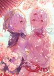 2girls absurdres ars_almal black_cape blue_eyes blurry_foreground bow bowtie breasts buttons cape cardigan cherry_blossoms commentary_request eating food highres holding hood hood_up huge_filesize large_breasts looking_at_viewer multiple_girls nijisanji pink_eyes pink_hair pleated_skirt red_neckwear school_uniform shiina_yuika shirt short_hair sitting skirt sunlight syunmin_n000 virtual_youtuber water white_hair white_shirt