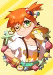 1girl absurdres ball bangs beachball bespectacled bracelet closed_mouth collarbone eyelashes frills gen_1_pokemon glasses green_eyes hair_between_eyes highres innertube_hair_ornament jewelry mega_stone misty_(pokemon) one_eye_closed orange_hair pokemon pokemon_(anime) pokemon_(classic_anime) pokemon_(creature) psyduck seashell shell shiny shiny_hair short_hair short_sleeves side_ponytail smile sparkle starfish suspenders taisa_(lovemokunae) yellow-framed_eyewear yellow_background