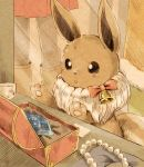 :o against_glass bell black_eyes blush bow casket commentary_request eevee fur gen_1_pokemon glass jewelry looking_at_object matsuri_(matsuike) necklace paper paws pearl_necklace pokemon pokemon_(creature) stone